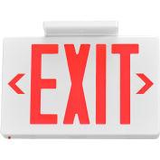 Enseigne de sortie à DELGlobal™, lettres rouges, installation universelle, batterie de secours, blanc,1 ou 2 côtés
