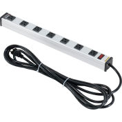 """Global Industrial™ Power Strip, 7 Outlets, 15A, 19""""L, 15' Cord"""