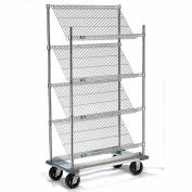 """Slant Wire Shelving Truck - 4 Shelves With Dolly Base - 48""""W x 24""""D x 70""""H"""