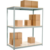 "Wide Span Rack 96""W x 36""D x 96""H With 3 Shelves Laminated Deck 800 Lb Cap Per Level - Gray"