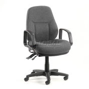 Interion® Task Chair With Mid Back & Fixed Arms, Fabric, Gray