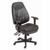 Interion® Office Chair With High Back & Adjustable Arms, Leather, Black