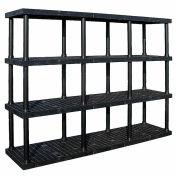 """Structure plastique ventilé Shelving, 96 """"L x 24 «D x 75» H, Black"""