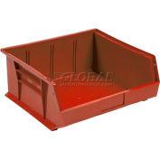 """Plastic Stack & Hang Bin, 16-1/2""""W x 10-7/8""""D x 5""""H, Red - Pkg Qty 6"""