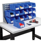 """Global Industrial™ Louvered Bench Rack 36""""W x 20""""H - 18 of Blue Premium Stacking Bins"""
