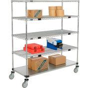 Nexel® Open Sided Wire Stock Picker Truck 4 Wire 1 Galvanized Shelf 800 Lb Cap