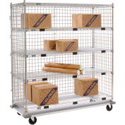 Nexel® Enclosed Wire Stock Picker Truck 5 Wire Shelves 1000 Lb. Cap