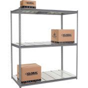 Global Industrial™ High Cap. Starter Rack 72Wx24Dx84H 3 Level Steel Deck 1000lb Per Shelf GRY