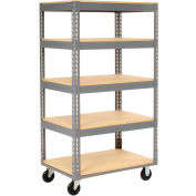 Global Industrial™ Easy Adjust Boltless 5 Shelf Truck 36x18, Wood Shelves, Polyurethane Casters