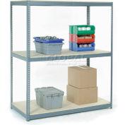 Global Industrial™ Wide Span Rack 48Wx36Dx84H, 3 Shelves Wood Deck 1200 Lb Cap. Per Level, Gray