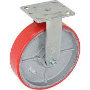 "Global Industrial™ Heavy Duty Rigid Plate Caster 8"" Polyurethane Wheel 1200 Lb. Capacity"