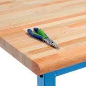 """Global Industrial™ Maple Butcher Block Safety Edge Workbench Top, 60""""W x 30""""D x 1-3/4""""H"""