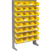 Global Industrial™ 8 Shelf Floor Pick Rack - 32 Yellow Plastic Shelf Bins 8 Inch Wide 33x12x61