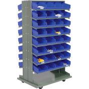 "Global Industrial™ 16 Shelf Double-Sided Mobile Pick Rack - 64 Blue Plastic Shelf Bins 8"" Wide"