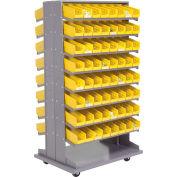 "Global Industrial™ 16 Shelf Double-Sided Mobile Pick Rack - 128 Yellow Plastic Shelf Bins 4""W"