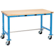Global Industrial™ 60 x 30 Mobile Packing Workbench - Power Apron - Maple Square Edge - Blue