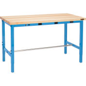 """72""""W x 30""""D Packing Workbench with Power Apron - Maple Butcher Block Square Edge - Blue"""