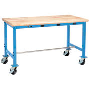 """60""""W x 30""""D Mobile Packing Workbench with Power Apron - Maple Butcher Block Safety Edge - Blue"""