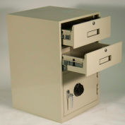 Fenco Lowboy Pedestal Safe S-622R-I - 2 Drawers Thick Frame Right Hinged Door 19x19x27-7/8 Gray