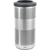 Global Industrial™ 20 Gallon Perforated Steel Receptacle with Flat Lid - Stainless