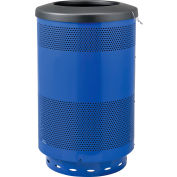 Global Industrial™ Perforated Steel Round Trash Can, 55 Gallon, Bleu