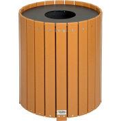 Global Industrial™ poubelle ronde en plastique recyclé avec revêtement, 32 gallons, cèdre