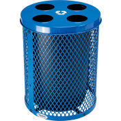 Global Industrial™ Thermoplastic 32 Gallon Mesh Recycling Receptacle w/Multi-Stream Lid - Blue