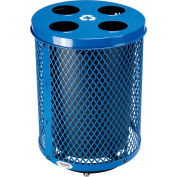 Global Industrial™ Deluxe Outdoor Steel Diamond Recycling Can W/Multi-Stream Lid, 36 Gal, Blue