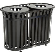 Global Industrial™ Outdoor Slatted Steel Trash Can With Flat Lid, 72 Gallon, Black