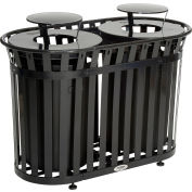 Global Industrial™ Outdoor Slatted Steel Trash Can With Rain Bonnet Lid, 72 Gallon, Black