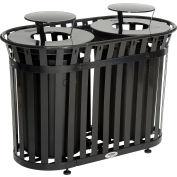 Global Industrial™ poubelle extérieure en acier lattes avec couvercle de bonnet de pluie, 72 gallons, noir