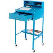 """Pucel Mobile Open-Base Shop Desk MSD-2023 - Pigeonhole Riser 23""""W x 20""""D x 51""""H Sloped Surface Blue"""