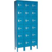Global Industrial™ Locker Six Tier 12x18x12 18 Door Ready To Assemble Blue