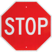 """Aluminum Sign - Stop - .080"""" Thick, White/Red, 652645"""