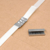 """Pac Strapping Serrated Polyester Strapping Seals, 1/2"""" Strap Width, Silver, Pack of 1000"""