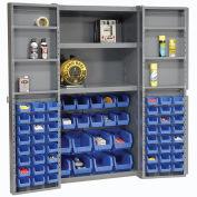 Global Industrial™ Bin Cabinet Deep Door 68 BL Bin, Shelves, 16 Ga Unassembled Cabinet 38x24x72