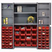 Global Industrial™ Bin Cabinet Deep Door 64 RD Bin, Shelves, 16 Ga Unassembled Cabinet 38x24x72