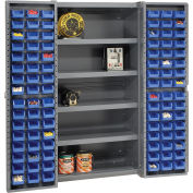 Global Industrial™ Bin Cabinet Deep Door, 96 BL Bin, Shelves, 16 Ga. Assembled Cabinet 38x24x72