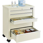 "Global Industrial™ 5-Drawer Medical Bedside Cart, Key Lock, Beige, 24-1/2""L x 13-1/4""W x 29""H"