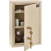 "Global Industrial™ Medical Security Cabinet w/Double Key Locks, 8""W x 2-5/8""D x 12-1/8""H, Beige"