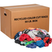 Global Industrial™ Recycled Mixed Color Cut Rags, 50 Lb. Box