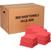 Global Industrial™ 100% Cotton Red Shop Towels, 50 Lb. Box