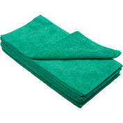 """Global Industrial™ 300 GSM Microfiber Cleaning Cloths, 16"""" x 16"""", Green, 12 Cloths/Pack"""