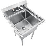 "Global Industrial™ Stainless Steel Utility Sink W/Faucet & 10"" Backsplash, 18""x18""x12"" Deep"