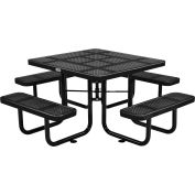 "Global Industrial™ 46"" Square Outdoor Steel Picnic Table, Perforated Metal, Black"