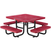 """Global Industrial™ 46"""" Child's Square Outdoor Steel Picnic Table, Perforated Metal, Red"""