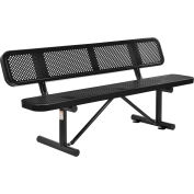 Global Industrial™ 6 ft. Outdoor Steel Picnic Bench with Backrest - Perforated Metal - Black