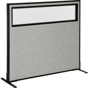 """Interion® Freestanding Office Partition Panel with Partial Window, 48-1/4""""W x 42""""H, Gray"""