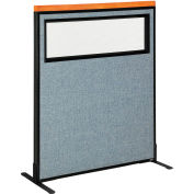 """Interion® Deluxe Freestanding Office Partition Panel w/Partial Window 36-1/4""""W x 43-1/2""""H Blue"""