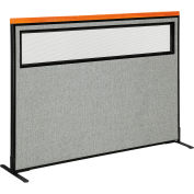 """Interion® Deluxe Freestanding Office Partition Panel w/Partial Window 60-1/4""""W x 43-1/2""""H Gray"""